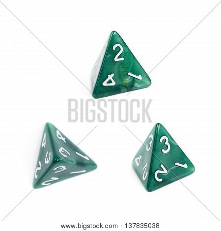 Green roleplaying polyhedral tetrahedron gaming plastic dice isolated over the white background, set of three different foreshortenings