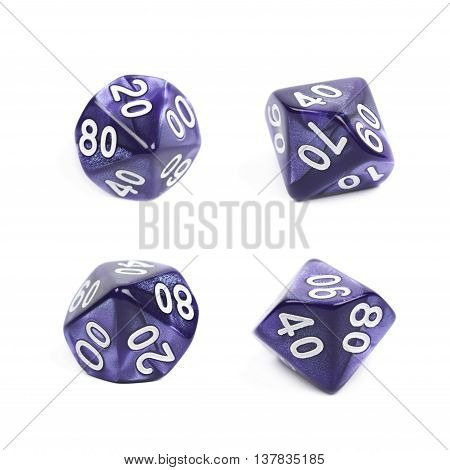 Violet roleplaying polyhedral heptagonal trapezohedron gaming plastic dice isolated over the white background, set of four different foreshortenings