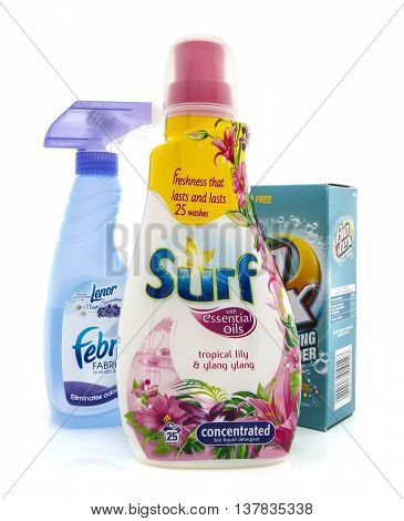 SWINDON UK - JANUARY 19 2014: Surf Bio Liquid Detergent Bio Tex bleach free stain remover and Febreze cleaning products on white background