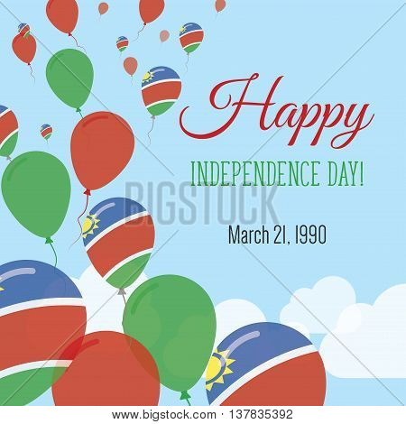 Independence Day Flat Greeting Card. Namibia Independence Day. Namibian Flag Balloons Patriotic Post