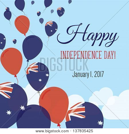 Independence Day Flat Greeting Card. Heard And Mcdonald Islands Independence Day. Heard And Mcdonald