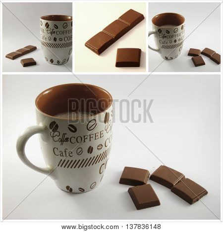 Cup of hot aromatic caffee and chocolate on white background