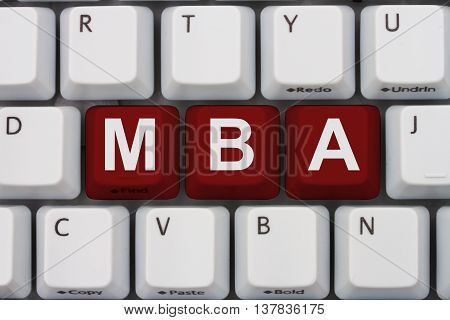 Getting your MBA online A close-up of a keyboard with red highlighted text MBA