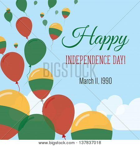 Independence Day Flat Greeting Card. Lithuania Independence Day. Lithuanian Flag Balloons Patriotic