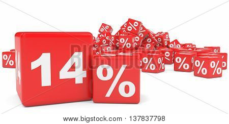 Red Sale Cubes. Fourteen Percent Discount.