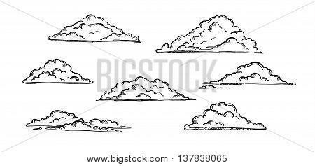 Hand drawn vector illustration - Set of clouds. Vintage engraved clouds