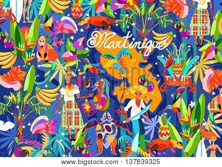 Pattern Caribbean island tropical flowers, leaves and bird hand drawn.Sea shell and palm, exotic fruits, humming-bird, crab.