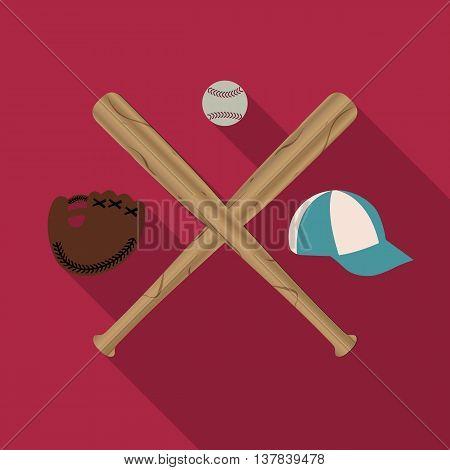 Baseball icon with two wooden baseball bats cap glove and Ball a long diagonal shadow vector illustration.