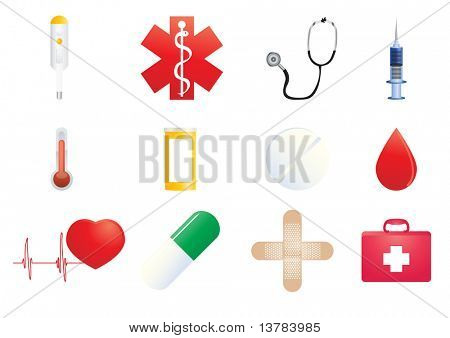 Vector illustration of medical icons on a white background