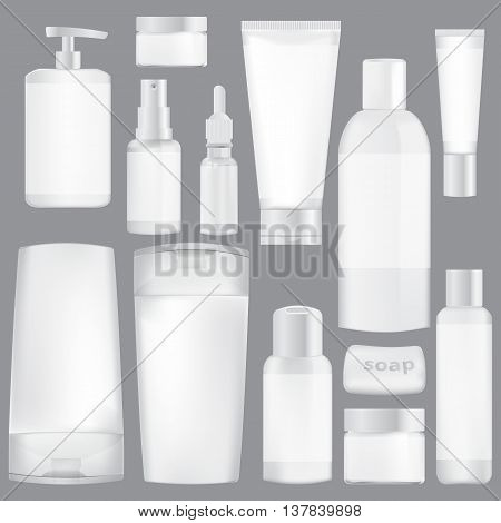 set of white packaging for cosmetics on a gray background