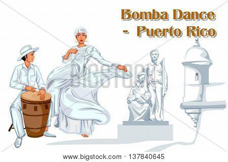 Vector design of Puerto Rican Couple performing Bomba dance of Puerto Rico