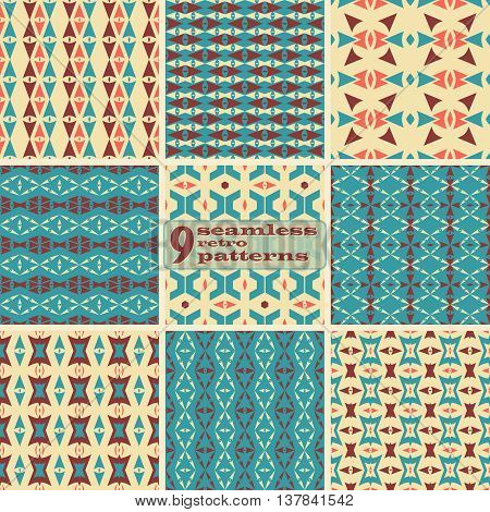 Set of 9 seamless retro patterns. Beautiful graphic prints with triangular and trapezoidal elements. Abstract geometric ornaments in vintage colors. Vector illustration for stylish creative design
