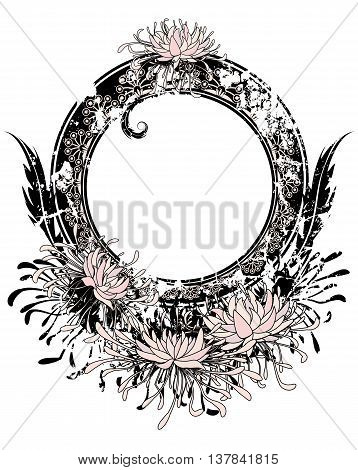 vector frame with chrysanthemum in pink black and white color