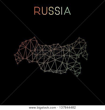 Russian Federation Network Map. Abstract Polygonal Map Design. Network Connections Vector Illustrati