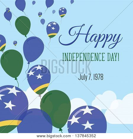 Independence Day Flat Greeting Card. Solomon Islands Independence Day. Solomon Islander Flag Balloon