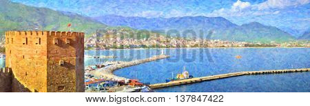 Turkey. Alanya's port and Kizil Kule - ancient Red Tower. Coast of east tourist town with a ship Bay sea spit and lighthouse. Alanya