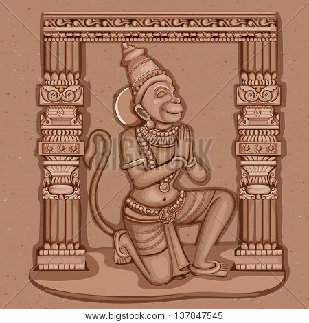 Vector design of Vintage statue of Indian Lord Hanuman sculpture engraved on stone