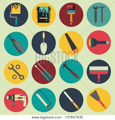 House repair tools icons flat vector collection
