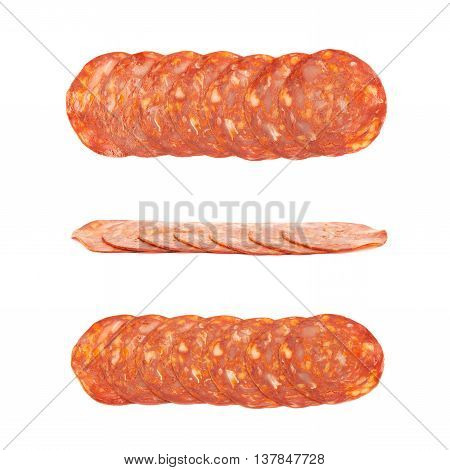 Line of sliced Italian sausage salame ventricina isolated over the white background, set of three different foreshortenings