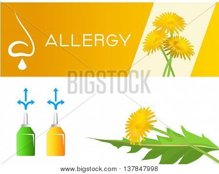 Medical poster of nasal spray. Spray for the treatment of hay fever. At the banner depicted a dandelion as stylized cause of the allergy.