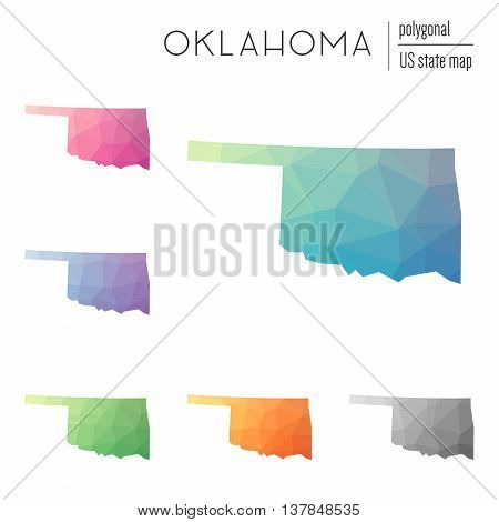 Set Of Vector Polygonal Oklahoma Maps. Bright Gradient Map Of The Us State In Low Poly Style. Multic