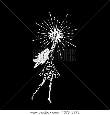 Black and white philosophy poster with inscription. You can do it. Girl holding a star. Motivational banner