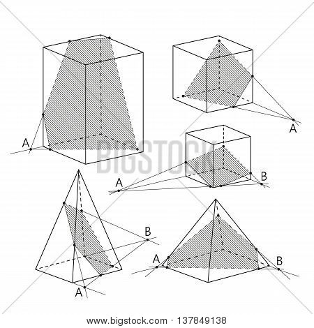 Math picture - sections of polyhedra. Geometry background. School vector illustration.