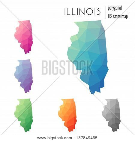 Set Of Vector Polygonal Illinois Maps. Bright Gradient Map Of The Us State In Low Poly Style. Multic
