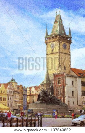 Old Town Square The old town hall (Staromestske namesti) and monument of Jan Hus Prague Czech Republic. Photo stylized illustration