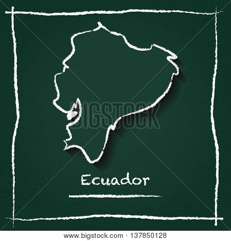Ecuador Outline Vector Map Hand Drawn With Chalk On A Green Blackboard. Chalkboard Scribble In Child