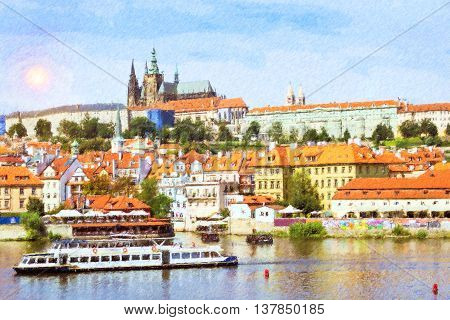 Scenic summer aerial view of Prague Castle (Prazsky hrad) and Old Town pier architecture over Vltava river in Prague Czech Republic. Photo stylized illustration