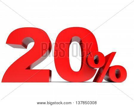Red twenty percent off. Discount 20%. 3D illustration. poster