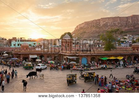 Jodhpur, India - March 7, 2016: Famous victorian Clock Tower in Jodhpur, India