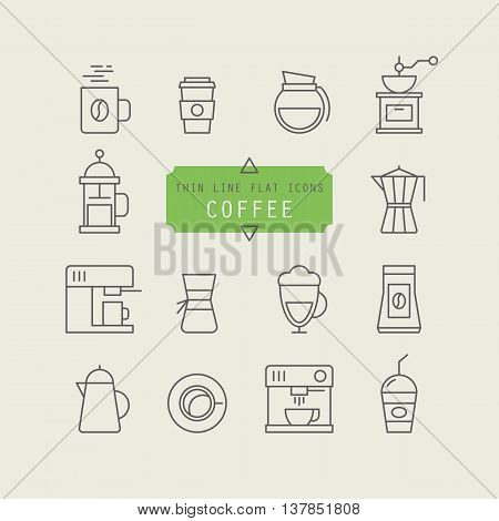 Thin line web icons for coffee preparation