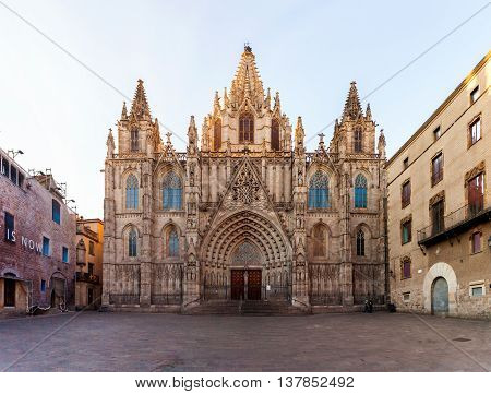 The Cathedral of the Holy Cross and Saint Eulalia is the Gothic cathedral in Barcelona. Travel to Spain.