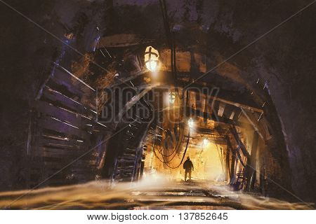 inside of the mine shaft with fog, illustration digital painting