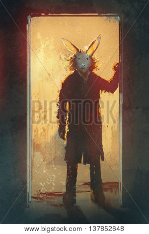 man with rabbit mask standing at the door, illustration digital painting