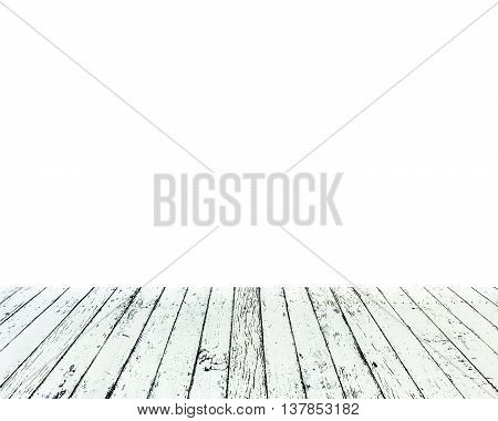 wooden table isolated on white background for put your products.