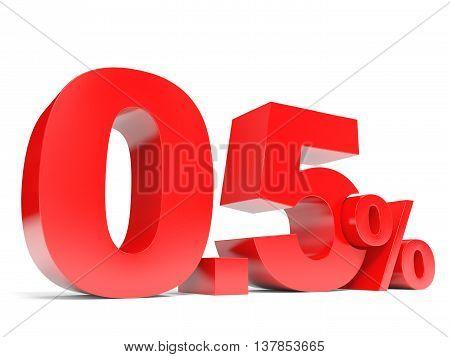 Red Zero Point Five Percent Off. Discount 0.5 Percent.