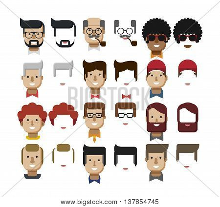 Stock vector illustration set avatars male faces, design elements, hairstyles, glasses, smoking pipe, tie, bow tie, collar, red hair, freckles, gray hair, bald mustache beard mustache flat style