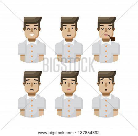 Stock vector illustration set male avatar, avatar with wide smile, male avatar with slight smile, avatar with pipe in mouth, upset avatar, avatar winks, avatar surprised, Emoji, black hair flat-style