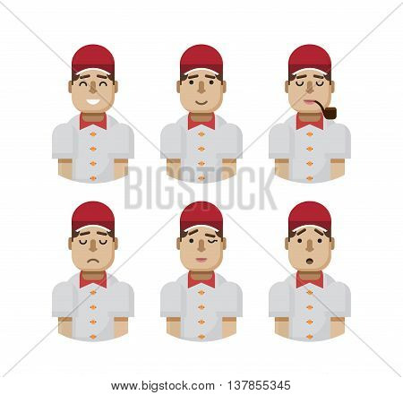 Stock vector illustration set male avatars, avatar with wide smile, male avatar slight smile, avatar with pipe in mouth, upset, avatar winks, avatars surprised, Emoji, avatars in a red cap flat-style