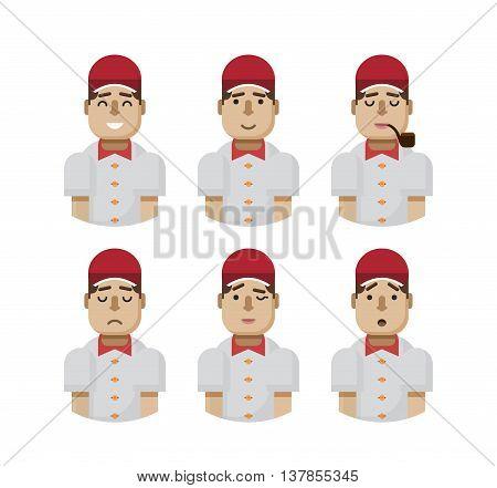 Stock vector illustration set male avatars, avatar with wide smile, male avatar slight smile, avatar with pipe in mouth, upset, avatar winks, avatars surprised, Emoji, avatars in a red cap flat-style