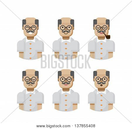 Stock vector illustration set male avatars, avatar with wide smile, male avatar with slight smile, avatar with pipe in mouth, upset, avatar winks, avatars surprised, Emoji, avatar retiree flat-style