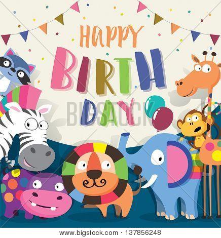 Birthday card with cute animal