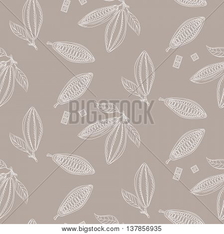 Cocoa beans outline seamless pattern. Chocolate taupe background. Organic raw cocoa beans line pattern.