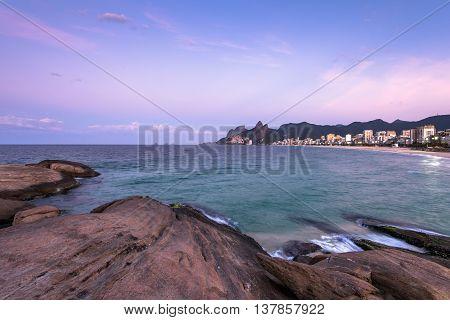 View from the Arpoador rock before the sunrise in Rio de Janeiro