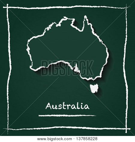 Australia Outline Vector Map Hand Drawn With Chalk On A Green Blackboard. Chalkboard Scribble In Chi