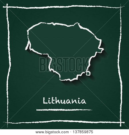 Lithuania Outline Vector Map Hand Drawn With Chalk On A Green Blackboard. Chalkboard Scribble In Chi