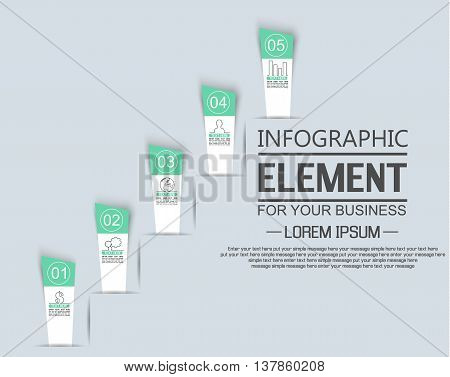 ELEMENT FOR INFOGRAPHIC TEMPLATE STIKER NUMBER OPTION LADDER OF SUCESS THIRD EDITION GREEN